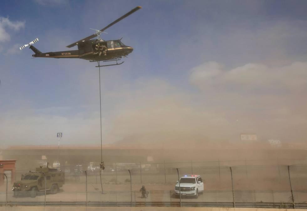 La patrulla fronteriza, en un simulacro de protección el pasado 9 de noviembre.