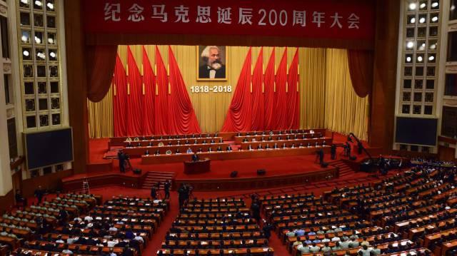 El presidente chino, Xi Jinping, durante un discurso el pasado mayo con motivo del 200º aniversario del nacimiento de Marx.