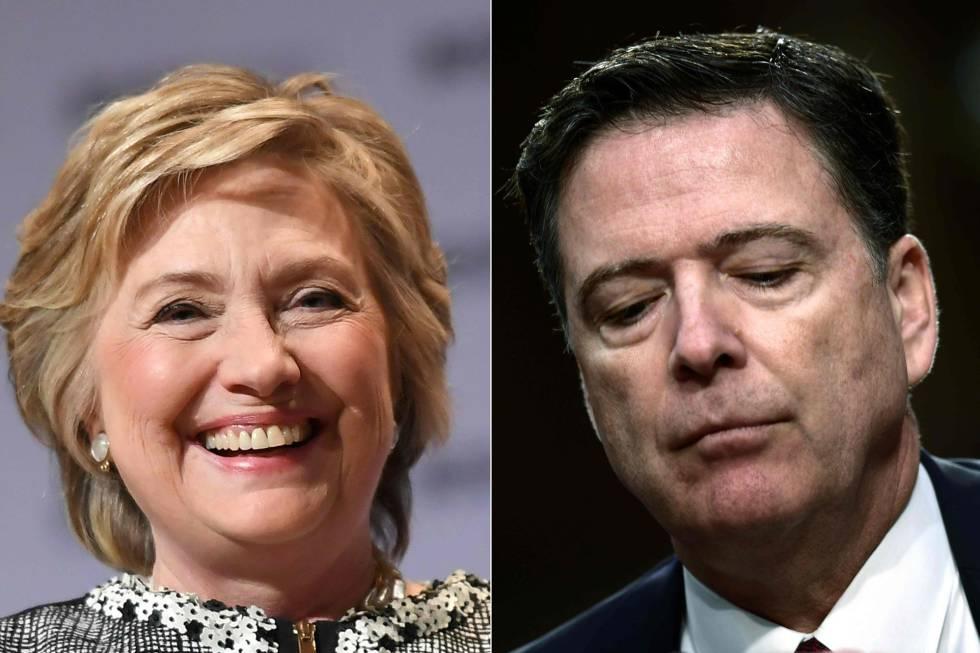 Combinación de imágenes de Hillary Clinton y James Comey