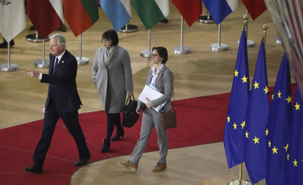El negociador de la UE, Michel Barnier, a su llegada al Consejo Europeo.