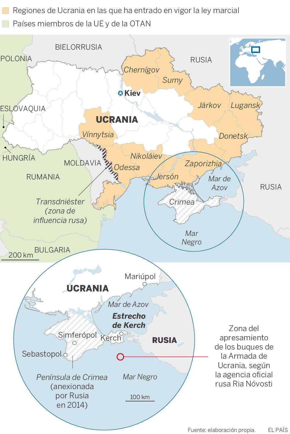 El presidente de Ucrania pide a la OTAN que envíe buques a Crimea ante la escalada bélica con Rusia