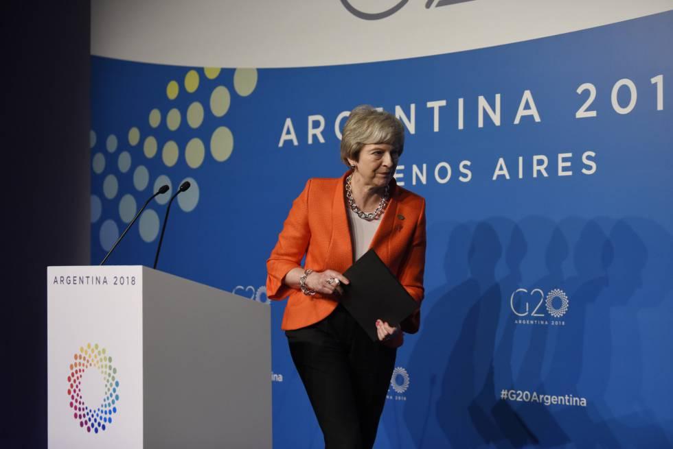 La primera ministra de Reino Unido, Theresa May, este sábado en Buenos Aires, en la cumbre del G20.