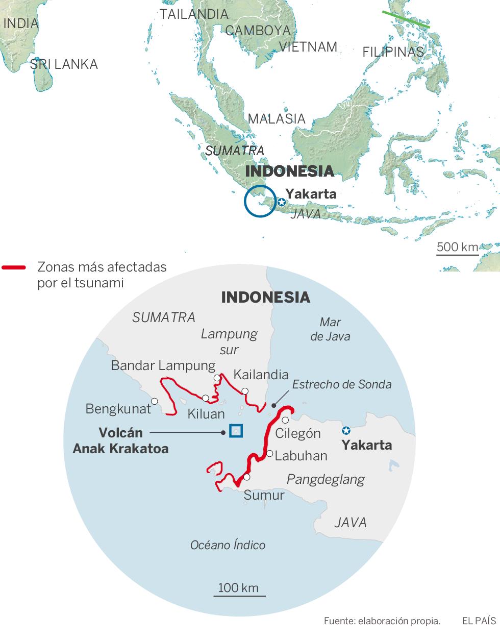 Un tsunami causa al menos 281 muertos y más de 1.000 heridos en Indonesia