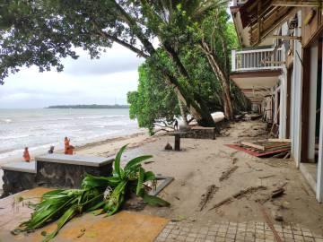La planta del Hotel Condominium Carita Beach, que quedó totalmente devastada tras el tsunami del 23 de diciembre de 2018.