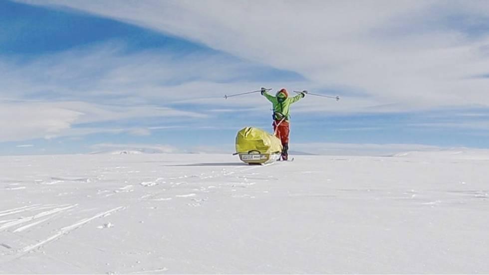 Colin O'Brady en su travesía por la Antártida.