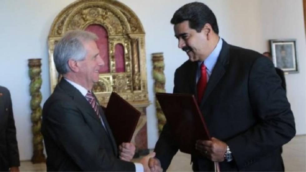 Los presidentes de Uruguay, Tabaré Vázquez, y Venezuela, Nicolás Maduro