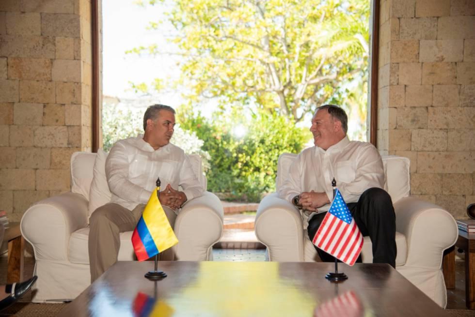 El preisdente de Colombia, Iván Duque, durante su encuentro en Cartagena con el secretario de Estado, Mike Pompeo.