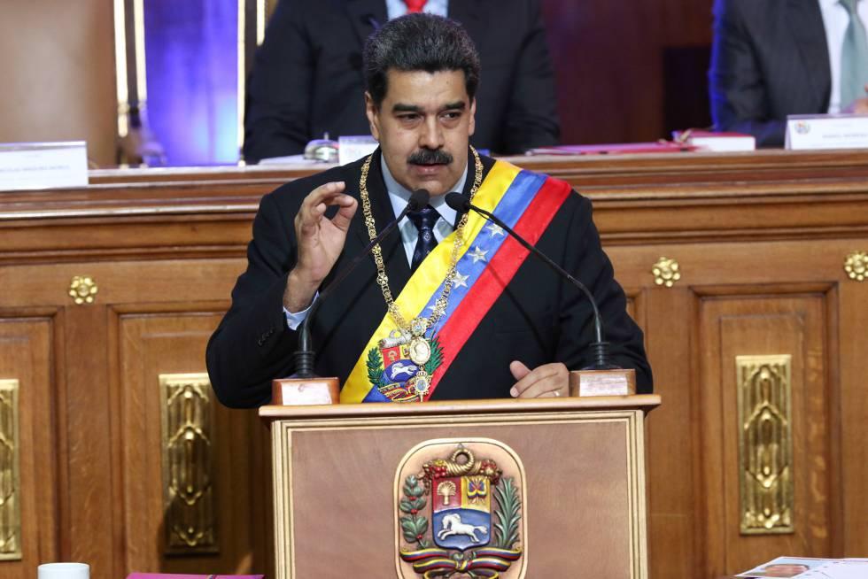 Nicolás Maduro, este lunes durante su intervención ante la Asamblea Nacional Constituyente. rn