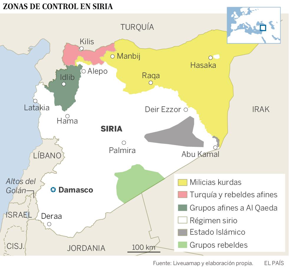 Los cuatro frentes abiertos en el conflicto sirio
