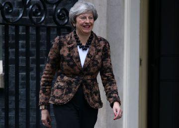 Theresa May, esta mañana en Downing Street.