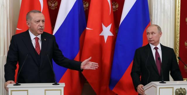 Erdogan y Putin, este miércoles en Moscú.