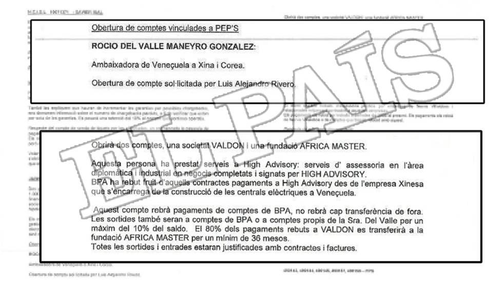 Documento interno de la Banca Privada d'Andorra (BPA) sobre las cuentas y sociedades en esta entidad de la actual embajadora de Venezuela en el Reino Unido, Rocío del Valle Maneiro.