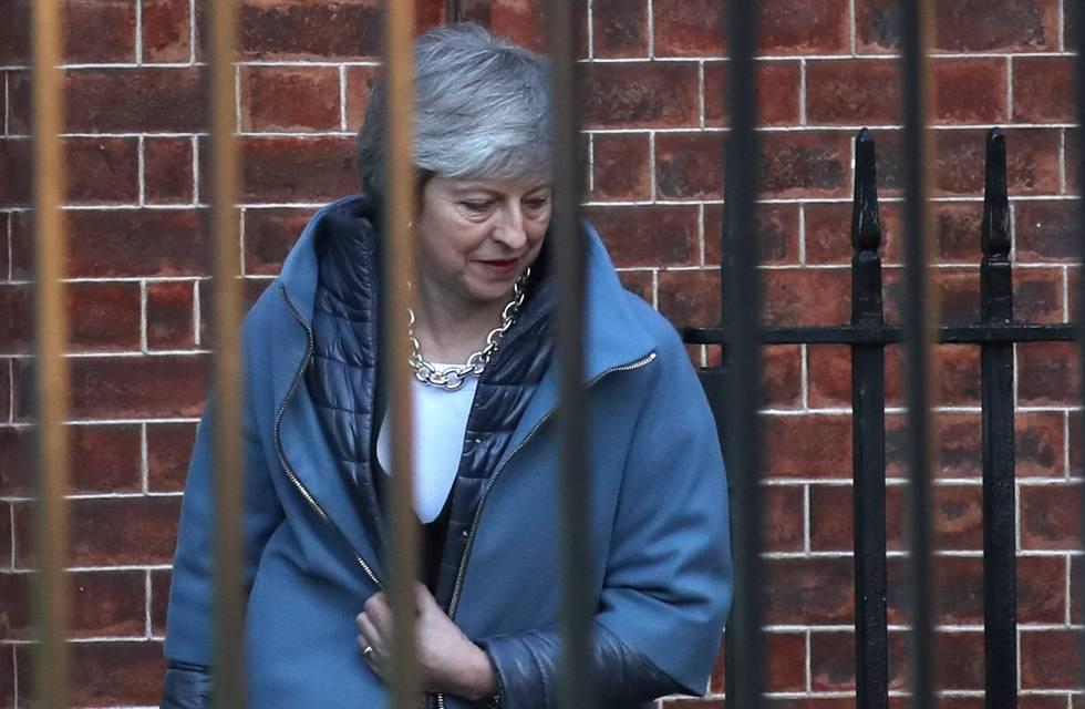 Theresa May, a su salida del número 10 de Downing Street, este jueves.