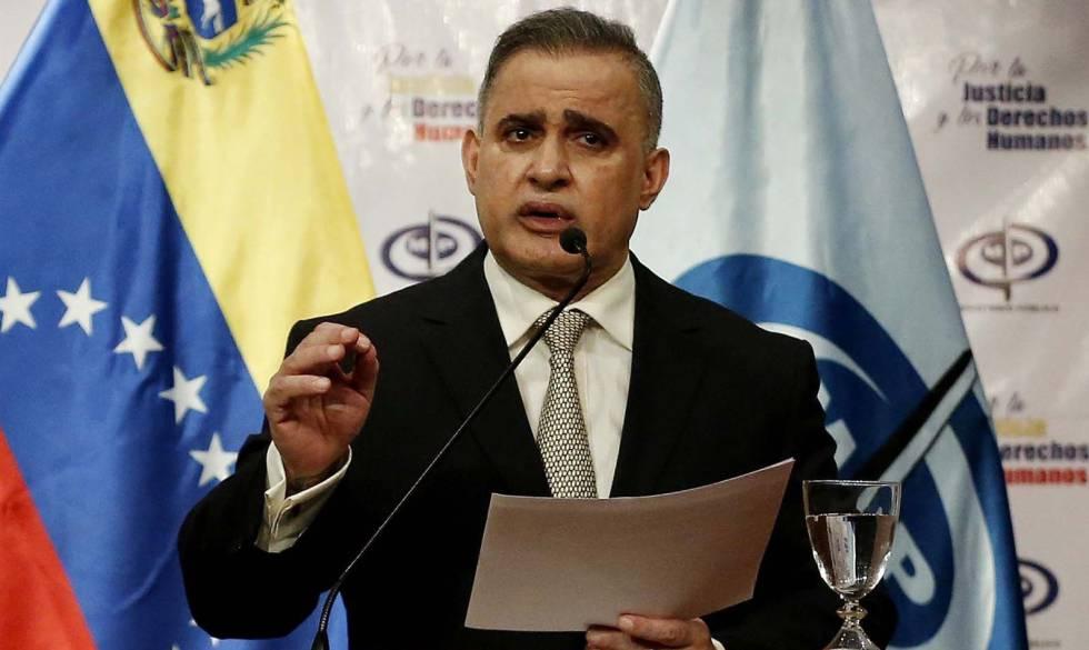 El fiscal general de Venezuela, Tarek Saab, en una rueda de prensa este jueves, en Caracas.