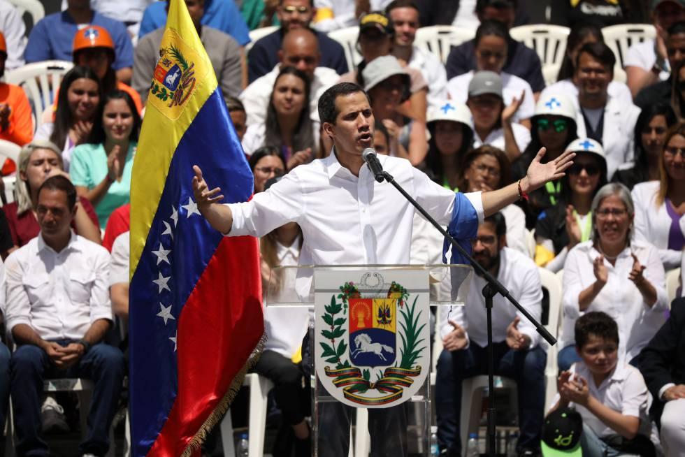 Juan Guaidó, durante el evento en Caracas