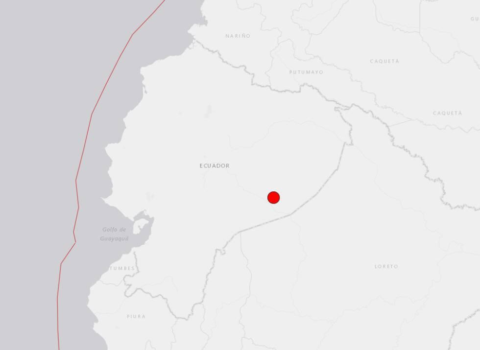 Epicentro del terremoto en Ecuador.
