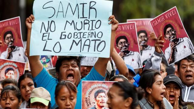 Protesta en México por el asesinato de Samir Flores.