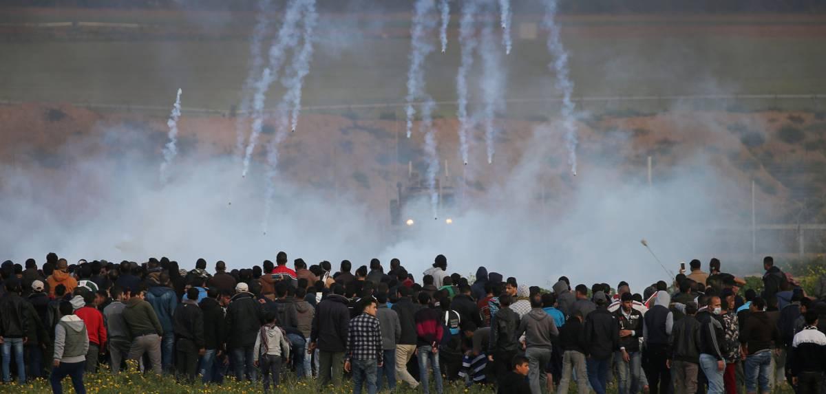 Protesta palestina en la frontera de Gaza con Israel, el viernes 22 de febrero.