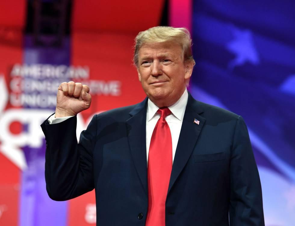 Donald Trump, en la Conferencia Política Conservadora el pasado sábado.