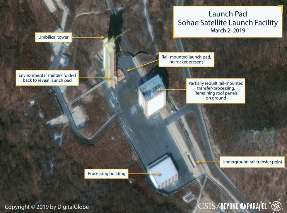 Imagen de la plataforma de lanzamiento de satélites en Corea del Norte.