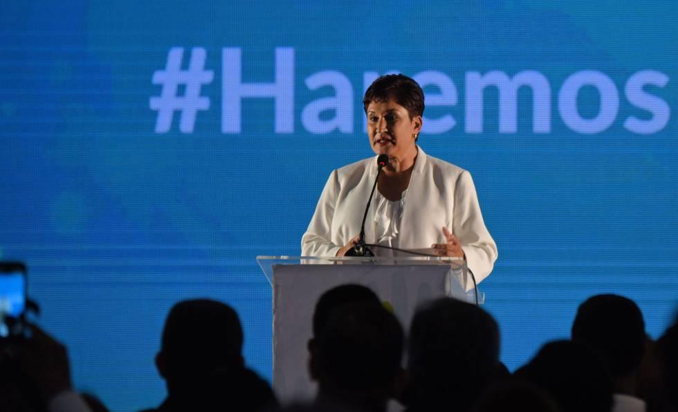 Thelma Aldana, el domingo, en la puesta de largo de su candidatura.