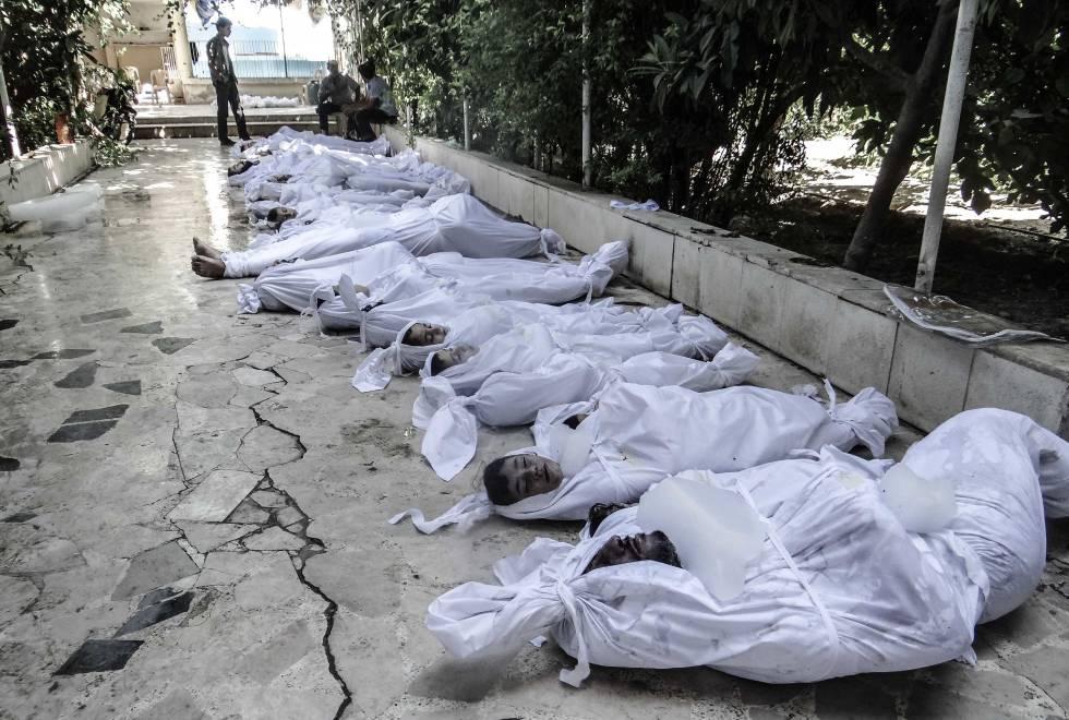 Víctimas del ataque químico sobre Guta en agosto de 2013.