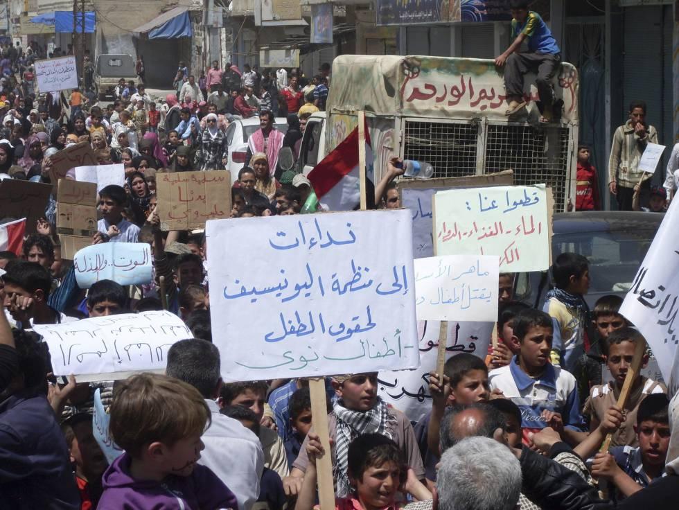 Protestas en abril de 2011 en la ciudad de Nawa, cercana a Deraa.