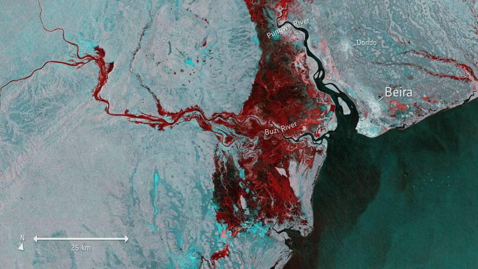 Imagen de satélite que muestra las inundaciones provocadas por el ciclón Idai a su paso por Beira (Mozambique).