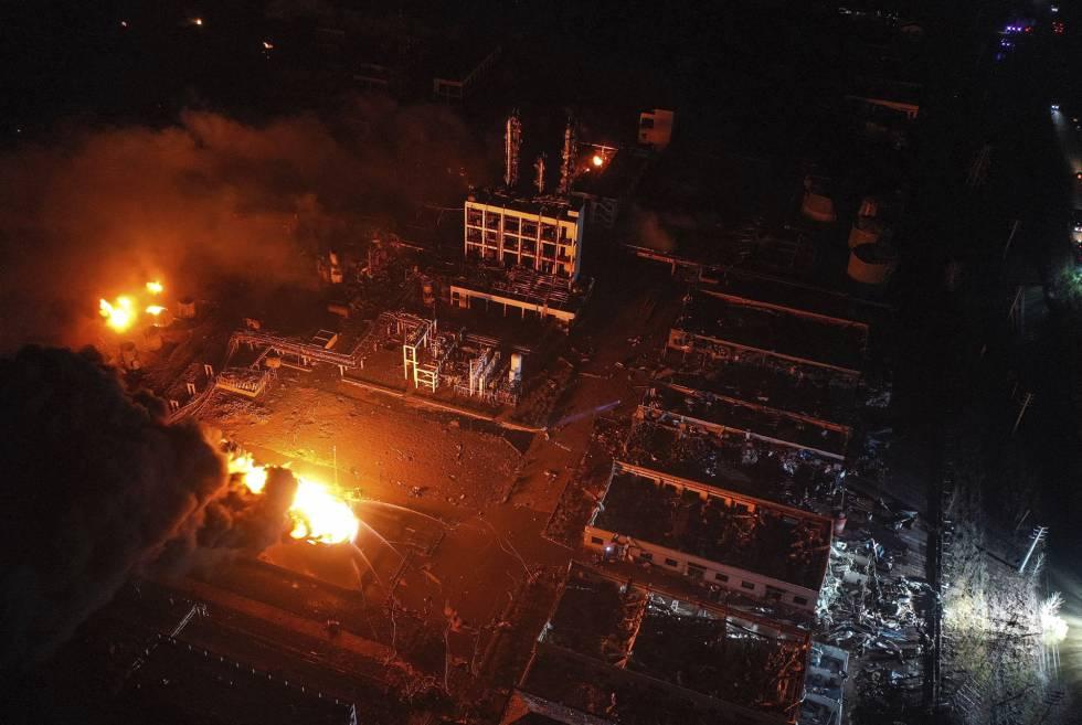 Una imagen aérea de la planta química, en la provincia de Jiangsu.