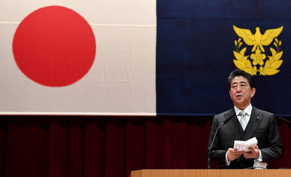 O primeiro-ministro do Japão, Shinzo Abe, durante um discurso em 17 de março.