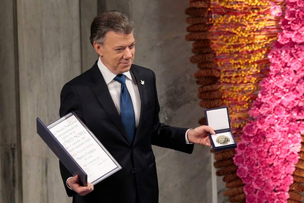 Santos, tras recibir el Nobel de la Paz en 2016.