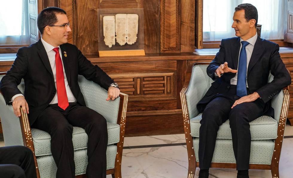 Jorge Arreaza junto al presidente sirio Bachar el Asad.