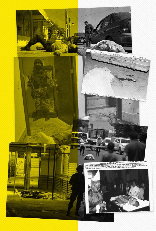 Escenas de violencia, de izquierda a derecha y de arriba a abajo: el asesinato de Ramón Arellano Félix en 2002; un hombre muerto tras un ajuste de cuentas en Ciudad Juárez en 1997; un militar junto al cadáver de Arturo Beltrán Leyva en 2009; el cuerpo del periodista asesinado Javier Valdez en 2017; víctimas de un tiroteo en Culiacán, también en 2017, y el funeral del cardenal Posadas, asesinado en 1993.