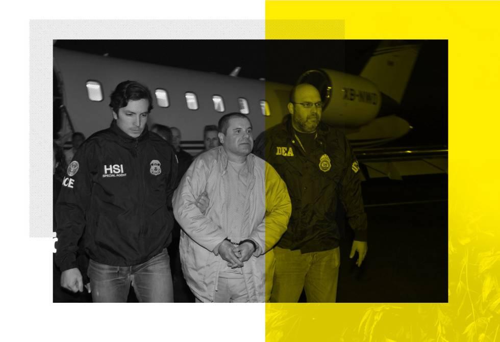 El Chapo, escoltado por miembros de la agencia antidrogas y de control fronterizo de EE UU (DEA e ICE) tras ser extraditado a Estados Unidos.