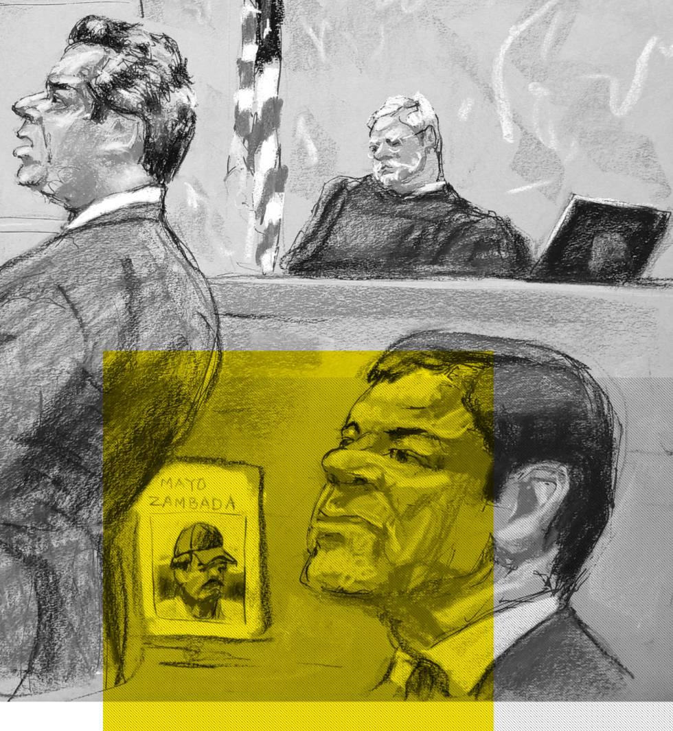El Chapo Guzmán durante su juicio en Nueva York, en el que se presentó como prueba una fotografía de El Mayo Zambada.