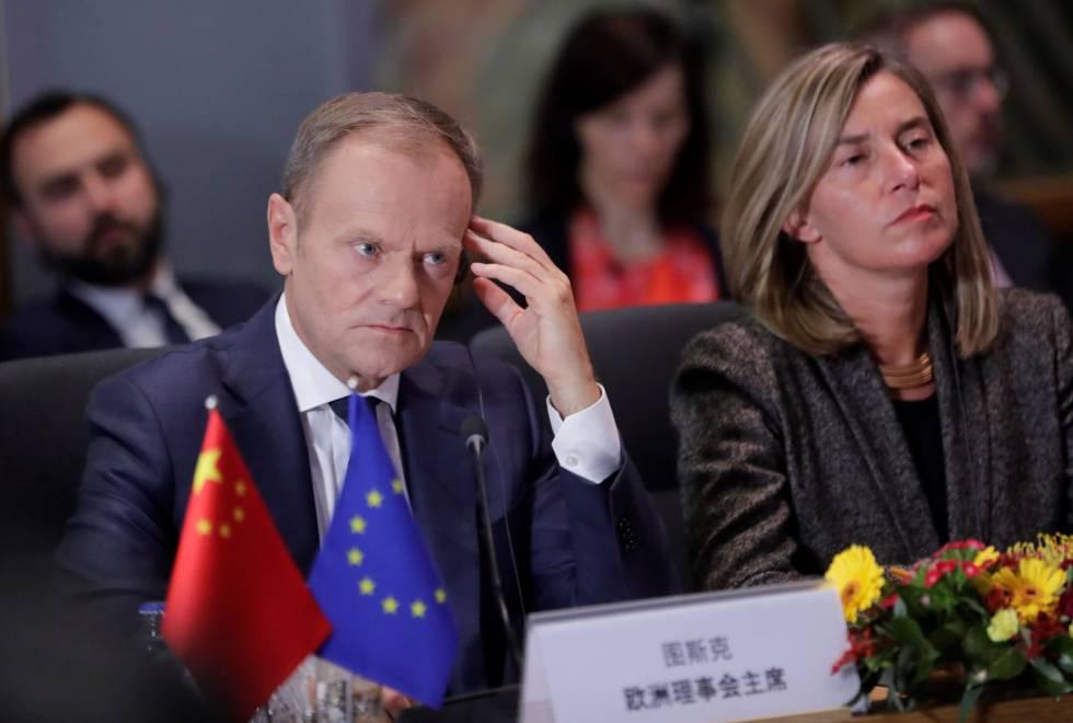 El presidente del Consejo Europeo, Donald Tusk, y la alta representante de la UE para la Política Exterior, Federica Mogherini.