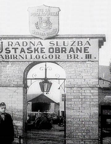 Entrada al campo de Jasenovac, en los años cuarenta.