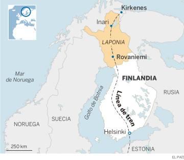 Recorrido del futuro tren que atravesará la Laponia finlandesa.
