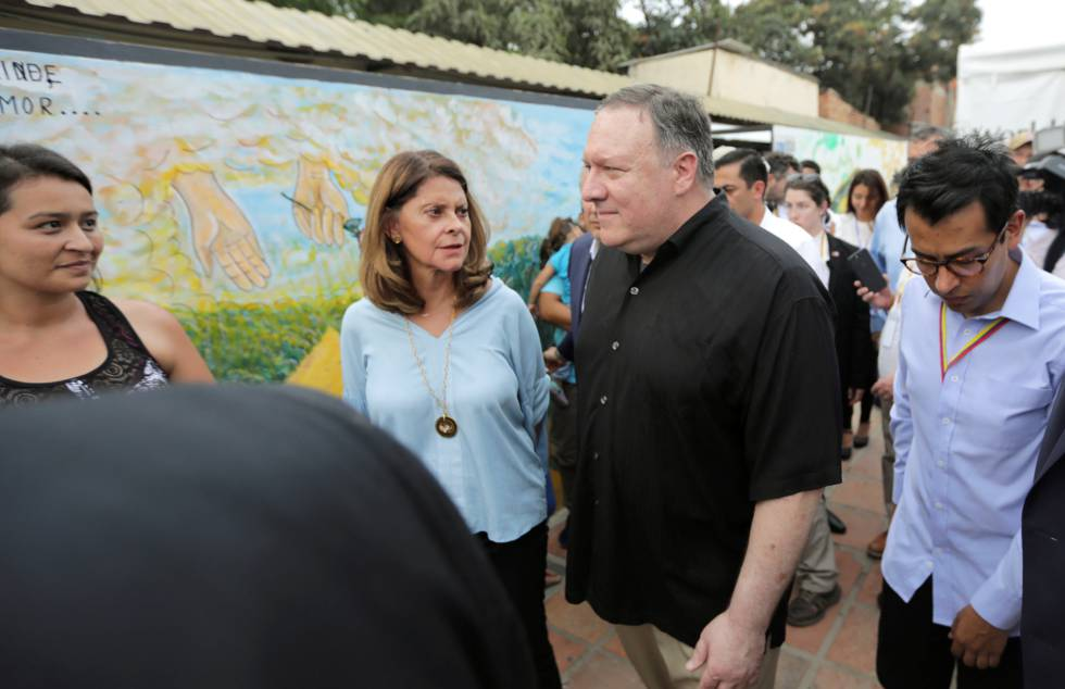 El Secretario de Estado Mike Pompeo durante su visita este sábado a Cúcuta