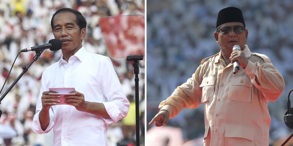 En la izquierda el actual presidente y candidato, Joko Widodo. A la derecha el candidato más radical, el exgeneral Prabowo Subianto.