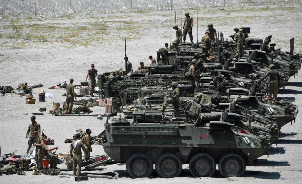 Tropas estadounidenses participan en unas maniobras militares en la provincia de Tarlac (Filipinas), a mediados de abril.