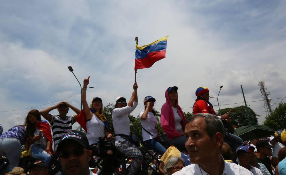 Una protesta en Barquismeto, Venezuela.