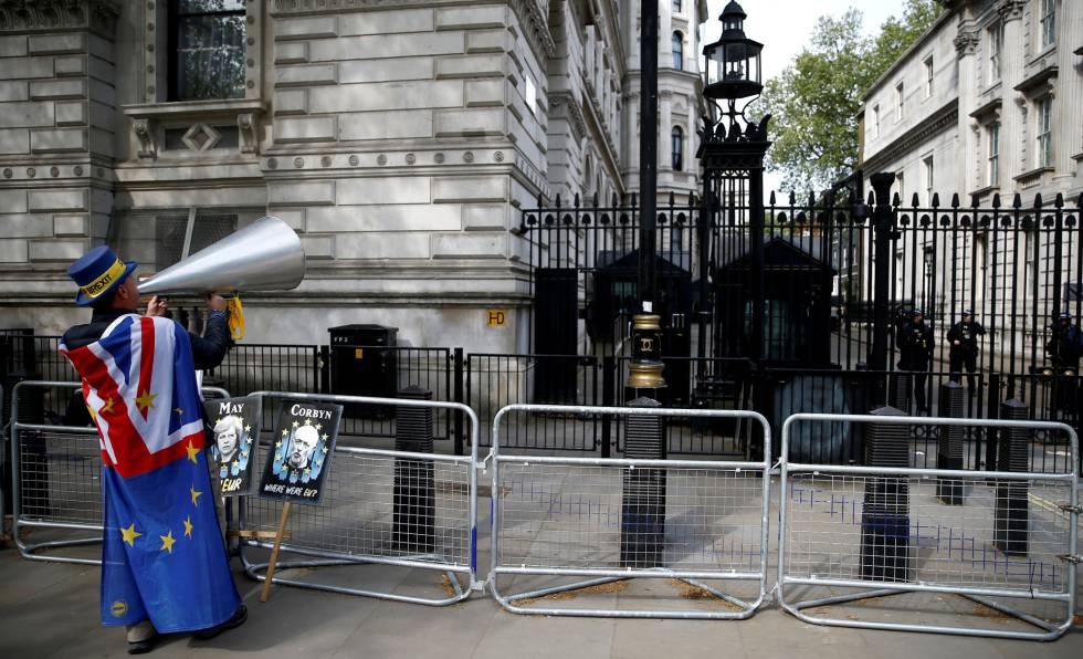 Un manifestante contrario al Brexit, este martes en Londres.