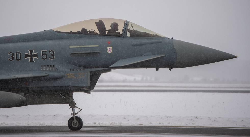 Un avión Eurofighter de la Fuerza Aérea alemana, en Amari (Estonia) el pasado febrero.