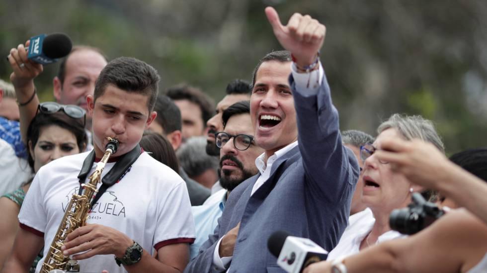 Juan Guaidó, este sábado en una manifestación en Caracas.