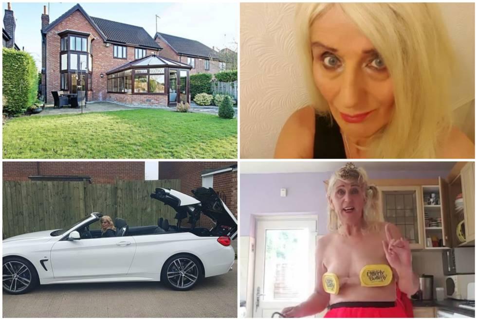 De izquierda a derecha y de arriba abajo, la casa que no pudo comprar Melisa Ede, la británica tras sus operaciones estéticas, con su coche BMW y en una captura de una de sus grabaciones.
