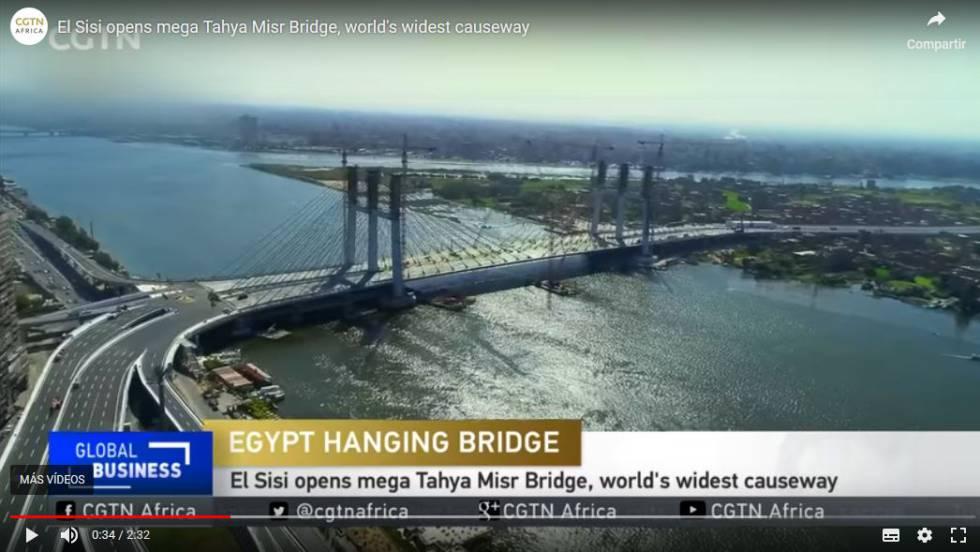 Panorámica del puente en una captura de vídeo de CGTN Africa.