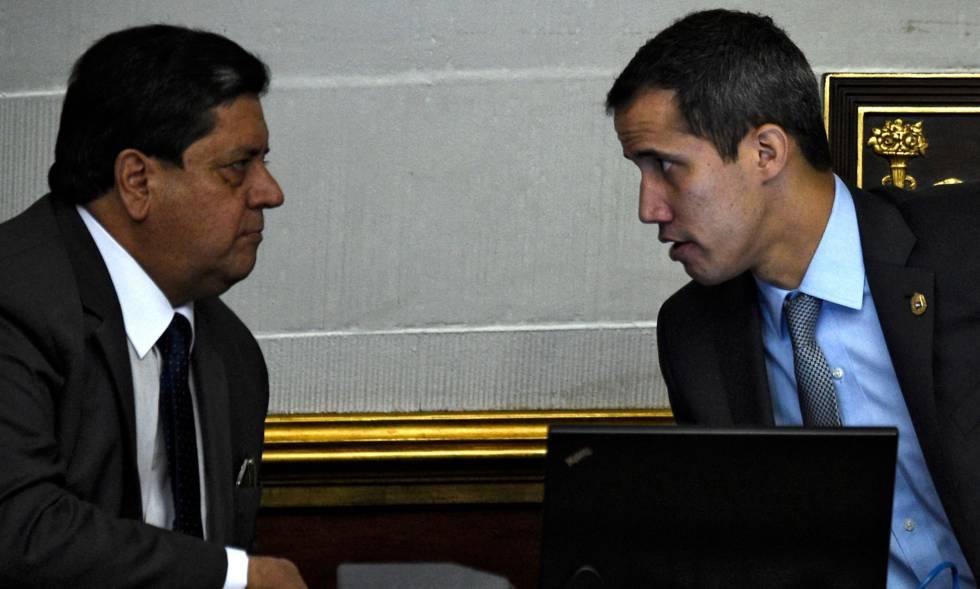Édgar Zambrano, vicepresidente de la Asamblea Nacional, y Juan Guaidó.