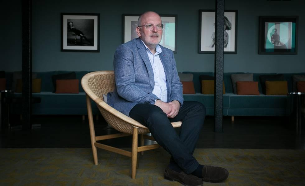 Frans Timmermans, en una pausa en su visita este jueves a Barcelona.