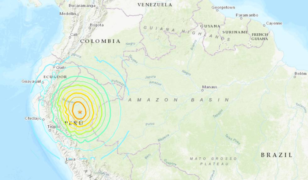 Un fuerte seísmo de magnitud 8 en Perú sacude también Colombia, Venezuela y Ecuador